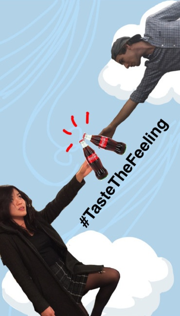 Funny Snapchat drawing of two people touching Coca-Cola bottles together with the hashtag #TasteTheFeeling