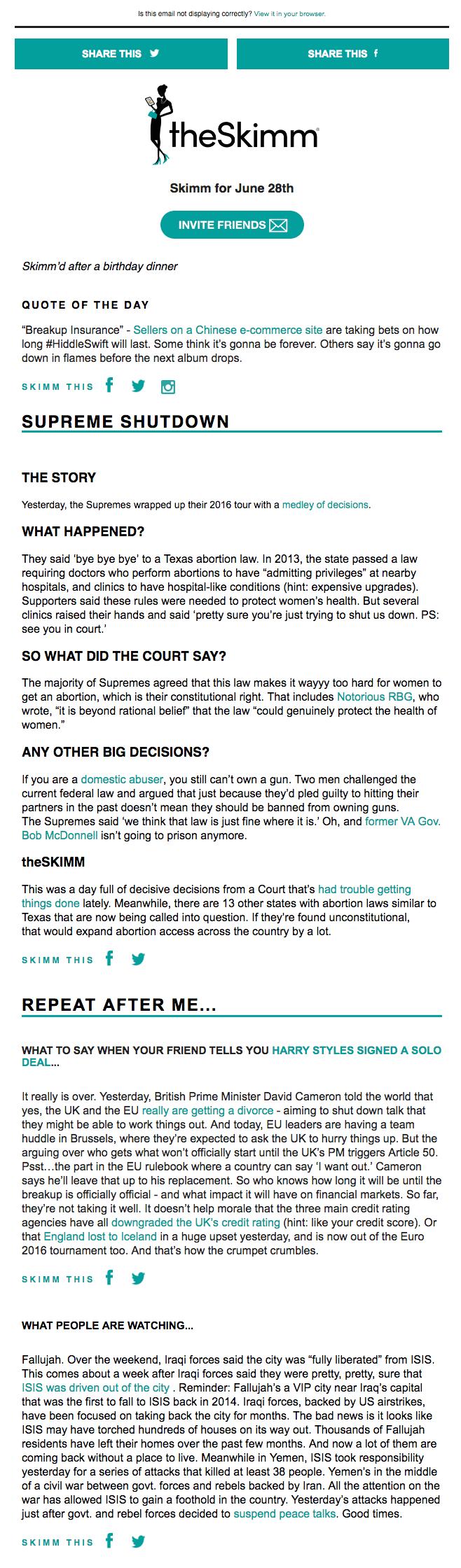 Voorbeeldontwerp e-mailnieuwsbrief met nieuws van theSkimm