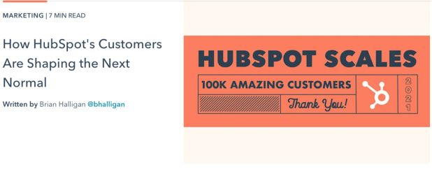 Thought leadership blog post example about HubSpot's customers