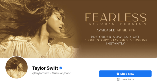 taylor swift verified badge on facebook