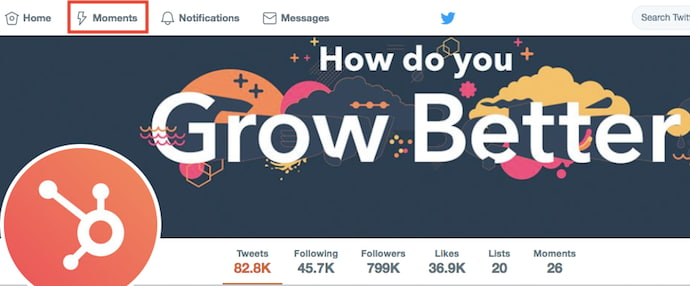 Twitter Moments button shown on desktop from HubSpot's Twitter profile