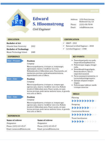 Civil engineer's resume template for MS Word