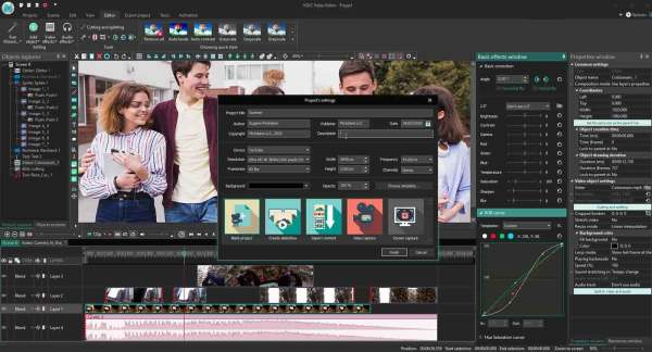 VSDC video editor on timeline view on a desktop