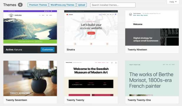 the theme selection page on a wordpress website