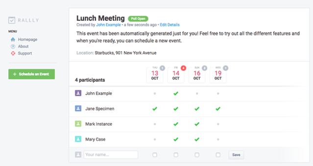 rally meeting tool scheduling interface