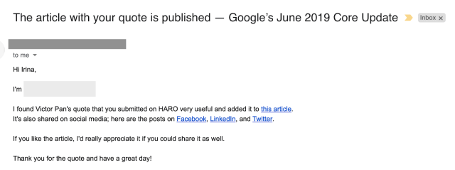 email response from journalist stating that a quote submitted through HARO was accepted for publication