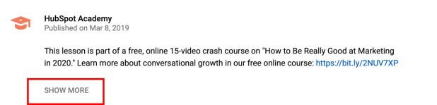 Collapsed YouTube Video Description With Show More Box Highlighted