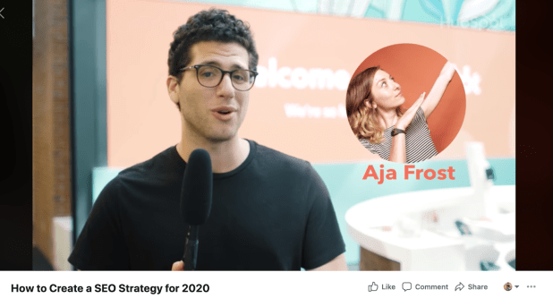 Facebook live video thumbnail from HubSpot's How to Create a SEO Strategy for 2020 content