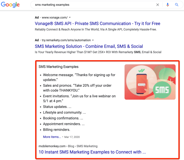 featured snippet search result for sms marketing examples
