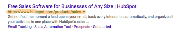 example of SERP with URL highlighted to demonstrate URL version