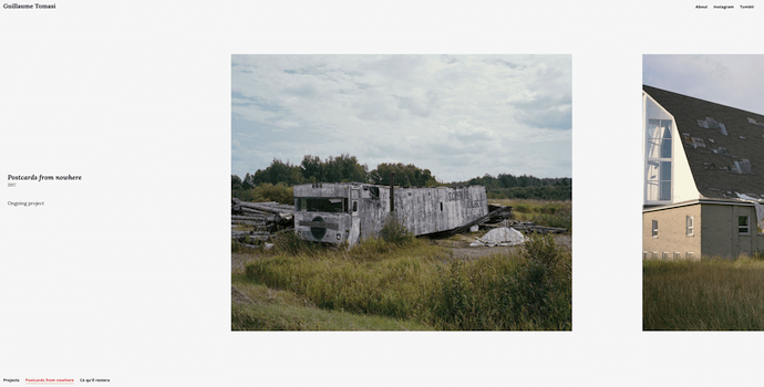 Homepage of Guillaume Tomasi, a cool website with great use of photography