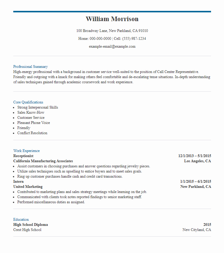 8 Call Center Resume Samples The Skills To Include Templates