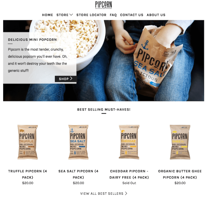 Pipcorn Shopify store