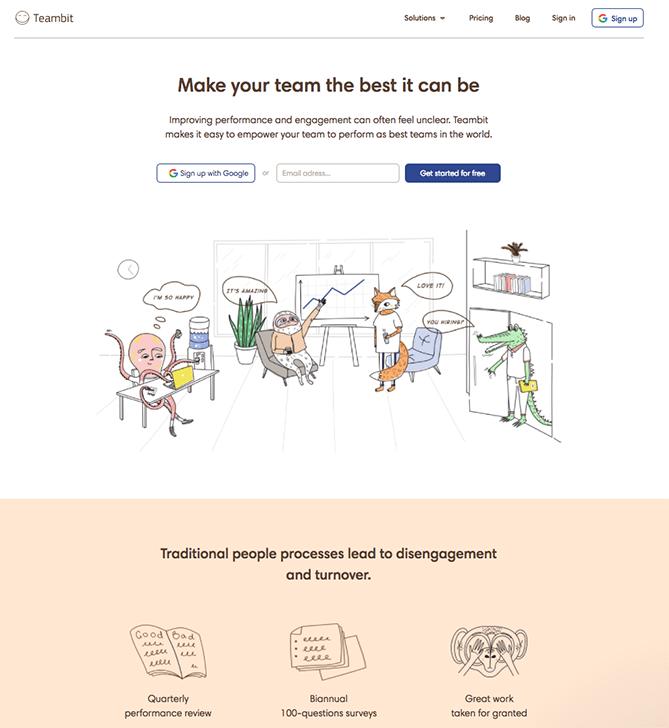 Trang đích của Teambit với CTA để đăng ký với Google