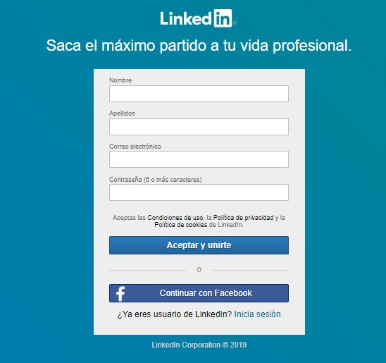LinkedIn ejemplo forms