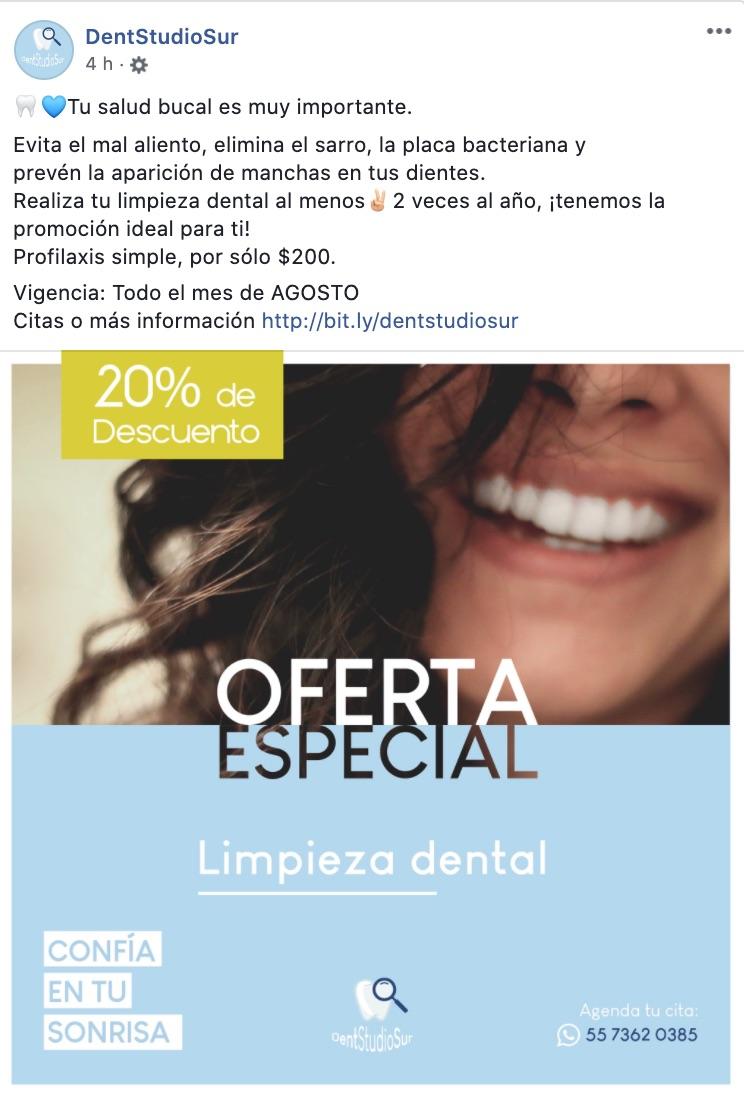 Ejemplo de cupón en redes sociales de DentStudioSur