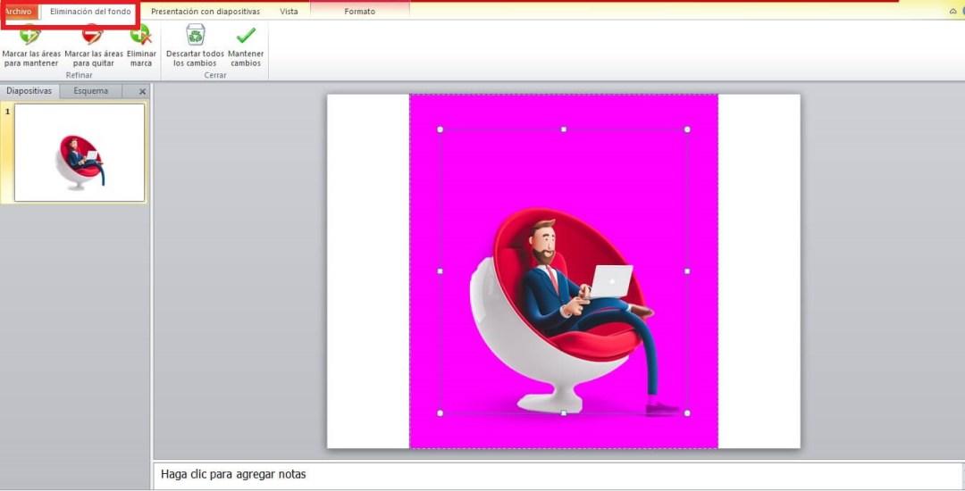 Cómo quitar el fondo de una imagen en PowerPoint: opciones de «Eliminación del fondo»