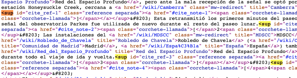Ejemplo de cómo se insertan las etiquetas <sup> en HTML
