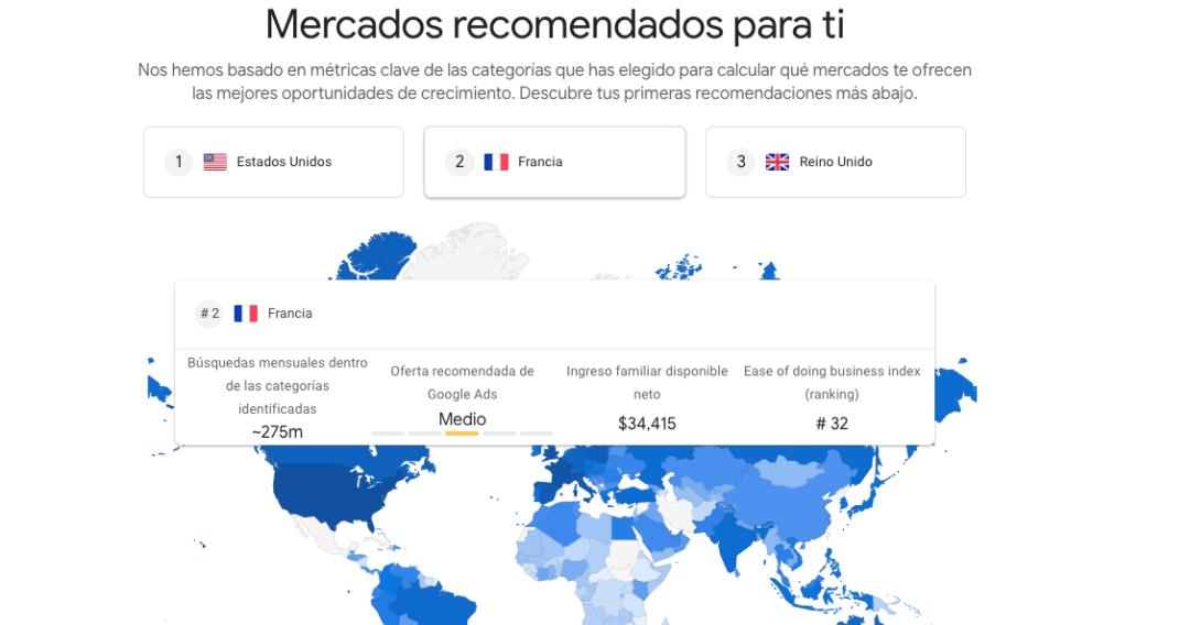 Mercados recomendados de Google Market Finder