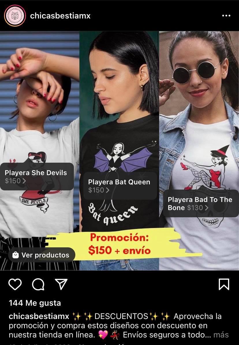 Ejemplo venta de productos en Instagram: Chicas Bestia