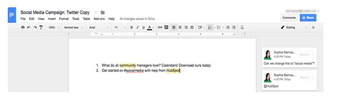 Herramientas útiles para calendario de contenidos de redes sociales: Google Docs
