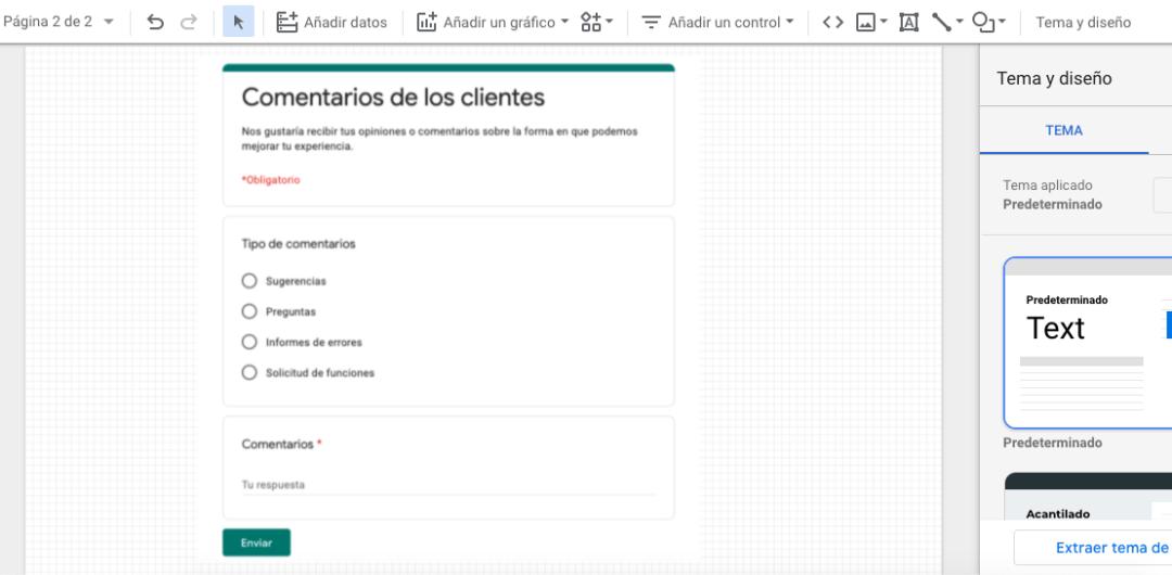 Encuesta de comentarios en Google Data Studio