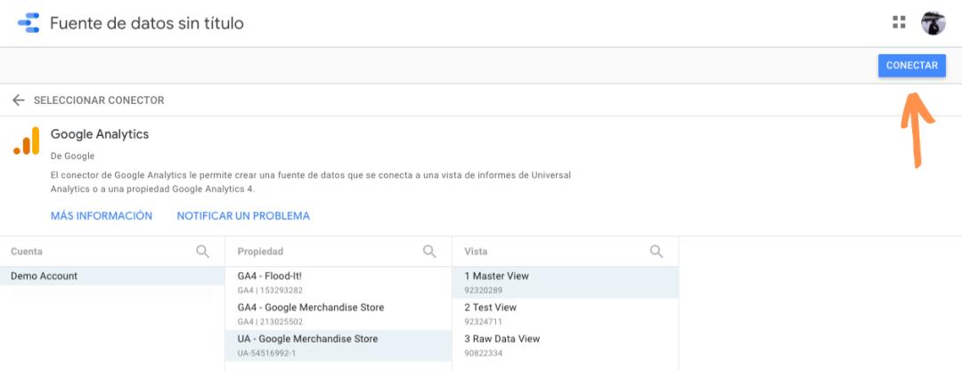 Conectar fuente de datos en Google Data Studio
