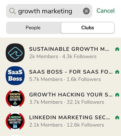 Clubes de growth marketing en Clubhouse