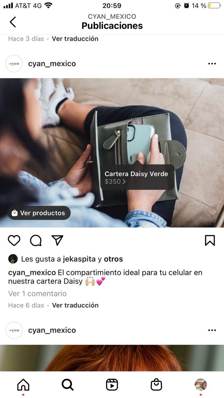 Ejemplo de cómo agregar información de compra en fotos de producto en Instagram