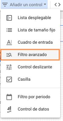 Filtro avanzado en informe de Google Data Studio