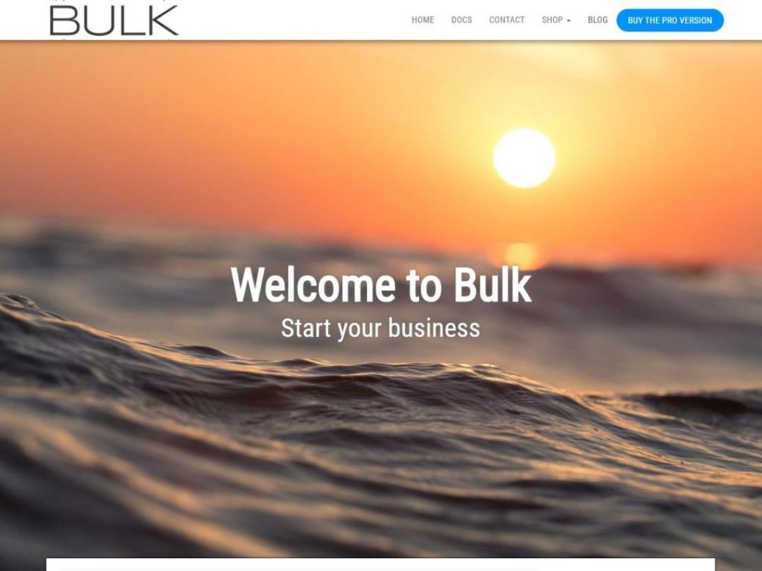 Plantilla gratuita para landing page: Bulk