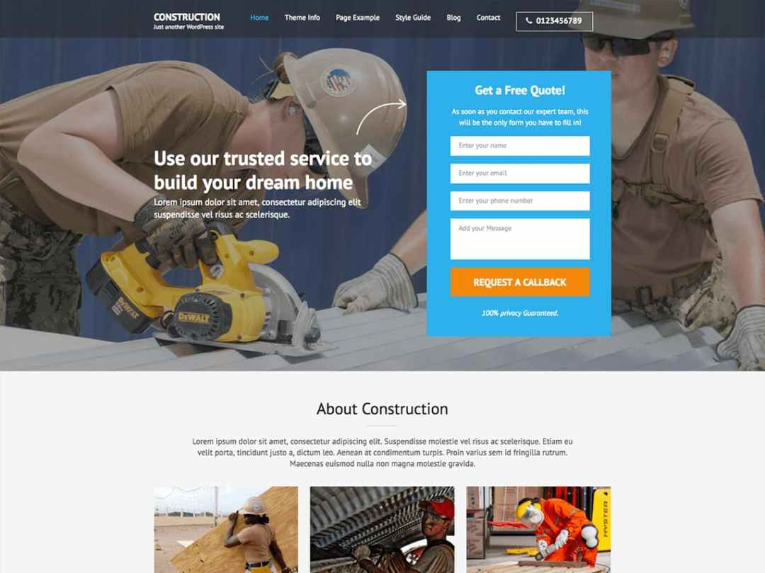 Plantilla para landing pages: Construction Landing Page