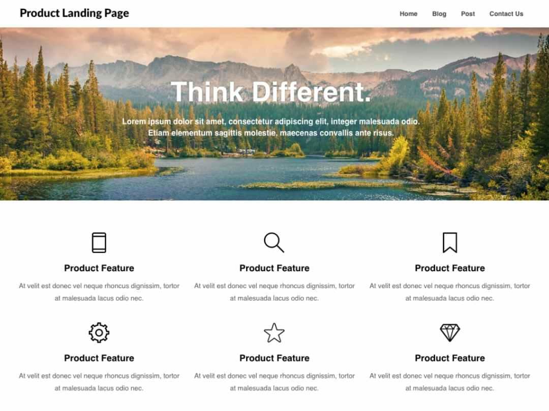 Template gratuito para landing page: Product Landing Page