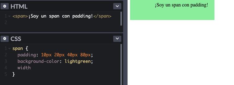 Ejemplo del uso de padding en una regla de CSS