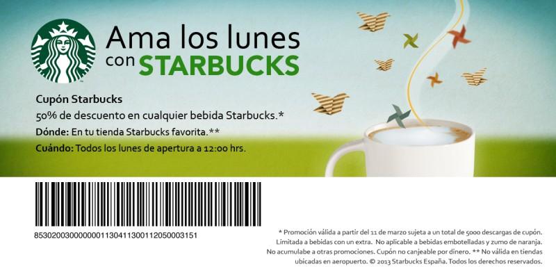 Ejemplo de cupón llamativo y creativo de Starbucks