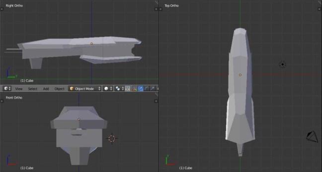 Kitbashing Spaceship : BlockoutStage-Example