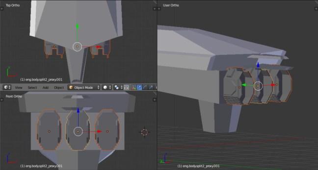 Kitbashing Spaceship : EnginePlacement Example