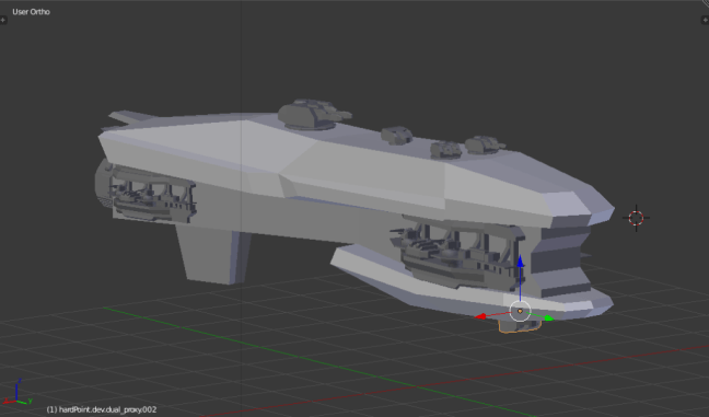 Kitbashing Spaceship : Weapon Placement Example
