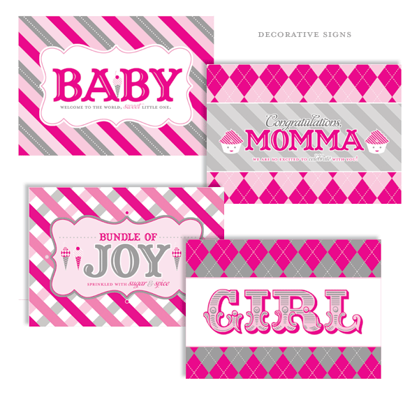 Sweet Shoppe Baby Shower Girl Printables and Decorative Signs via Mandy's Party Ideas
