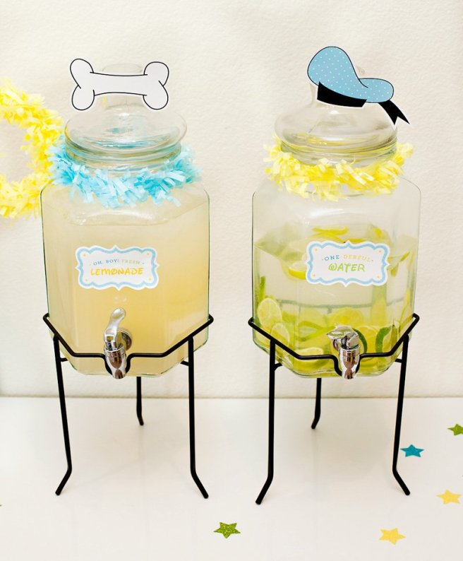 Mickey Mouse Party Drink Labels from HWTM via Mandy's Party Printables