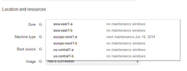 Google Compute Engine (GCE) Zone
