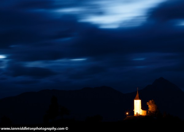 Jamnik church at dawn in Slovenia