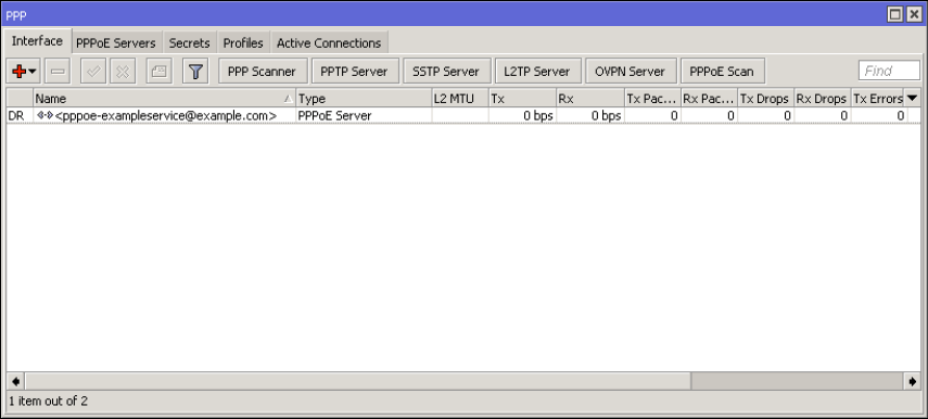 Mikrotik PPPOE Server Active Connections