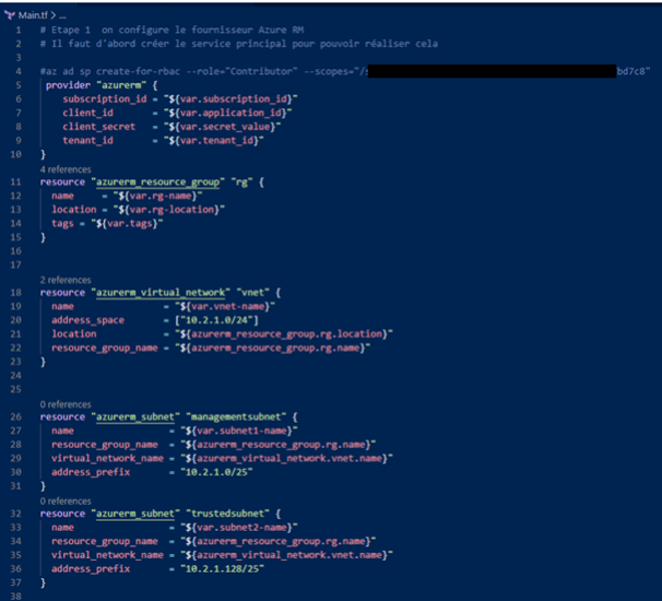 Configuring terraform main.tf file
