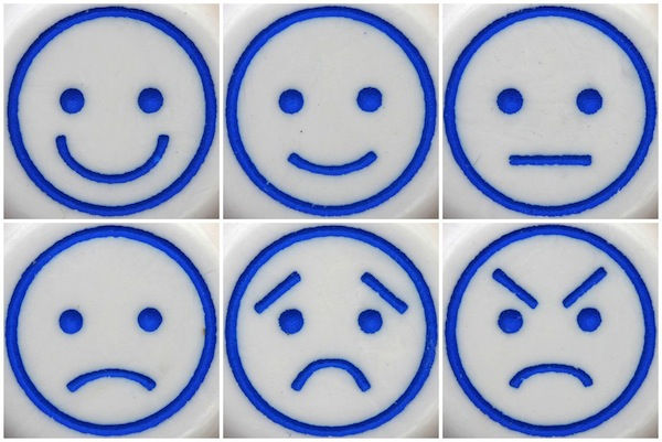 Range of Smiley to Angry Faces