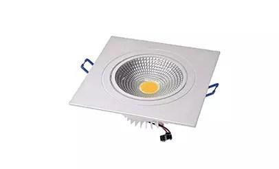 Spot LED COB 7W Quadrado Embutir Direcionável Branco Quente