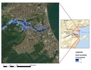 Extensão da área inundada no evento do dia 23 de fevereiro de 2018, obtida por meio de modelagem