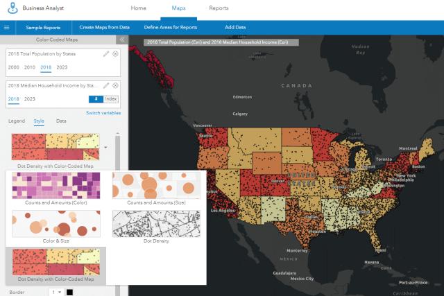 mapas de densidade de pontos sobrepostos aos mapas codificados por cores - business analyst