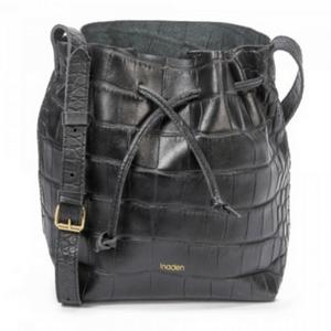 petit sac bourse en cuir noir façon croco