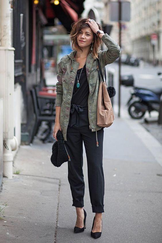 veste kaki style army look femme